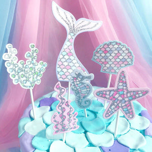 Silver Glitter Mermaid Cake Toppers (Set of 6)-mermaid, Sweet Sixteen-Cheery Toppers