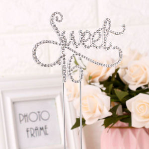 Elegant Rhinestone Sweet 16 Cake Topper (Gold/Silver)-sweet sixteen-Silver-Cheery Toppers