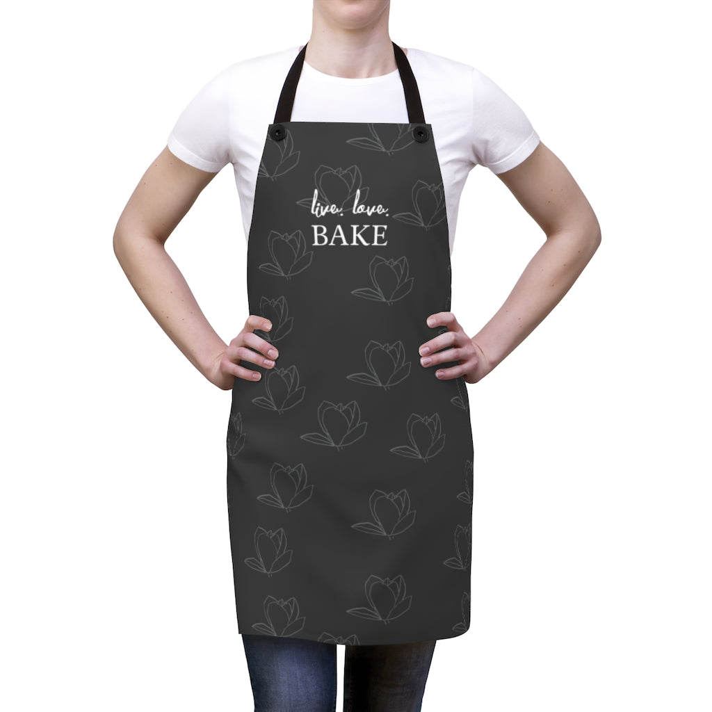 Live Love Bake Flower Pattern Apron-Accessories-Cheery Toppers