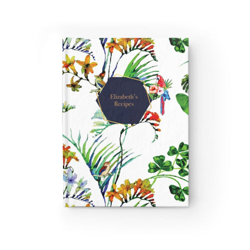 Tropical Print Personalized Recipe Journal - Ruled Line-Paper products-Cheery Toppers