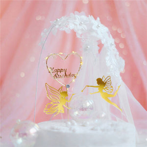 "Fairy Wonderland Cake Topper Set-Fairy-""Happy Birthday"" Heart-Cheery Toppers"