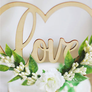 "Rustic ""Love"" Cake Topper and Decorations (Maryam 2)-Bridal Shower, Rustic Wedding, Succulent, Valentine's Day-Wooden Love Flower-Cheery Toppers"