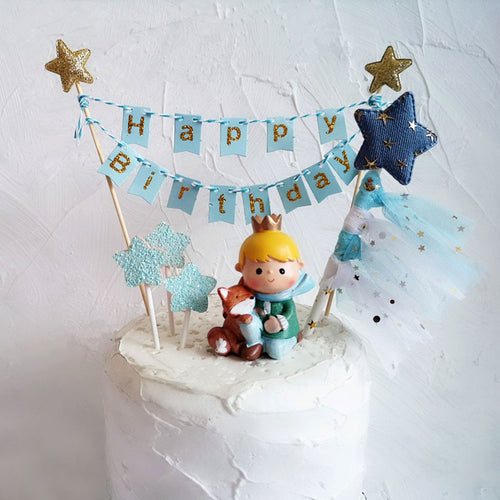 Prince Fox and Rose Gold/Blue Birthday Cake Toppers-