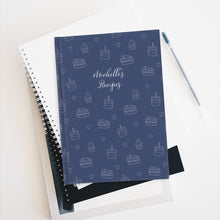 Load image into Gallery viewer, Navy Cake Print Personalized Recipe Journal - Ruled Line