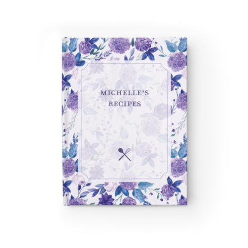 Hydrangea Personalized Recipe Journal - Ruled Line-Paper products-Cheery Toppers