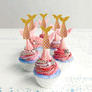 Sparkling Mermaid Tail Cake Topper Set (Pink and Gold)-Mermaid, mermaid baby shower-Cheery Toppers
