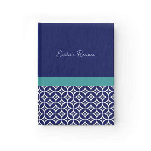 Greek Tile Personalized Recipe Journal - Ruled Line-Paper products-Cheery Toppers