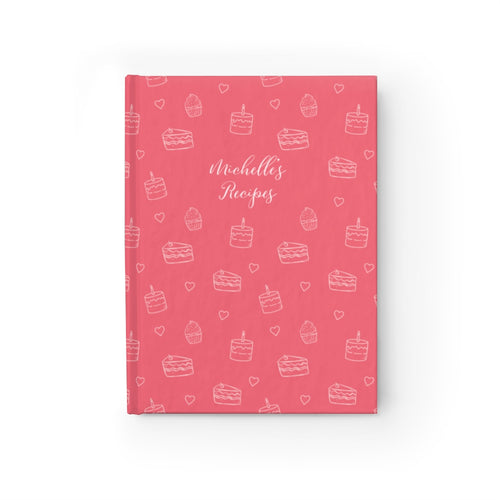 Pink Cake Print Personalized Recipe Journal - Ruled Line-Paper products-Cheery Toppers