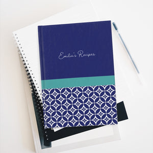 Greek Tile Personalized Recipe Journal - Ruled Line