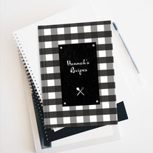 Load image into Gallery viewer, Black Gingahm Pattern Personalized Journal - Ruled Line
