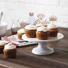 "Load image into Gallery viewer, ""Rose Gold Glitter Diamond, Crown, and Wedding Dress"" Cupcake Toppers"