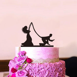 "Funny ""Fishing Bride Catches Groom"" Wedding Cake Topper"