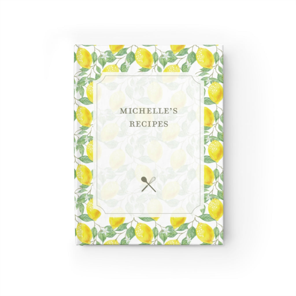 Garden Lemon Personalized Recipe Journal - Ruled Line