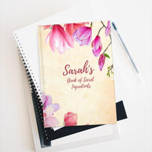 Load image into Gallery viewer, Book of Secret Ingredients Floral Personalized Recipe Journal - Ruled Line-Paper products-Cheery Toppers