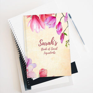 Book of Secret Ingredients Floral Personalized Recipe Journal - Ruled Line-Paper products-Cheery Toppers