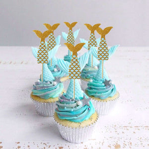 Sparkling Mermaid Tail Cake Topper Set (Blue and Gold)-Mermaid, mermaid baby shower-Cheery Toppers