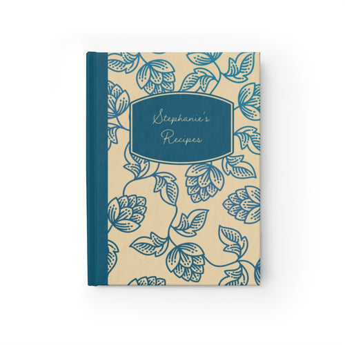 Blue Flower Personalized Recipe Journal - Ruled Line-Paper products-Cheery Toppers