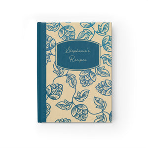 Blue Flower Personalized Recipe Journal - Ruled Line