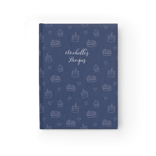 Navy Cake Print Personalized Recipe Journal - Ruled Line-Paper products-Cheery Toppers
