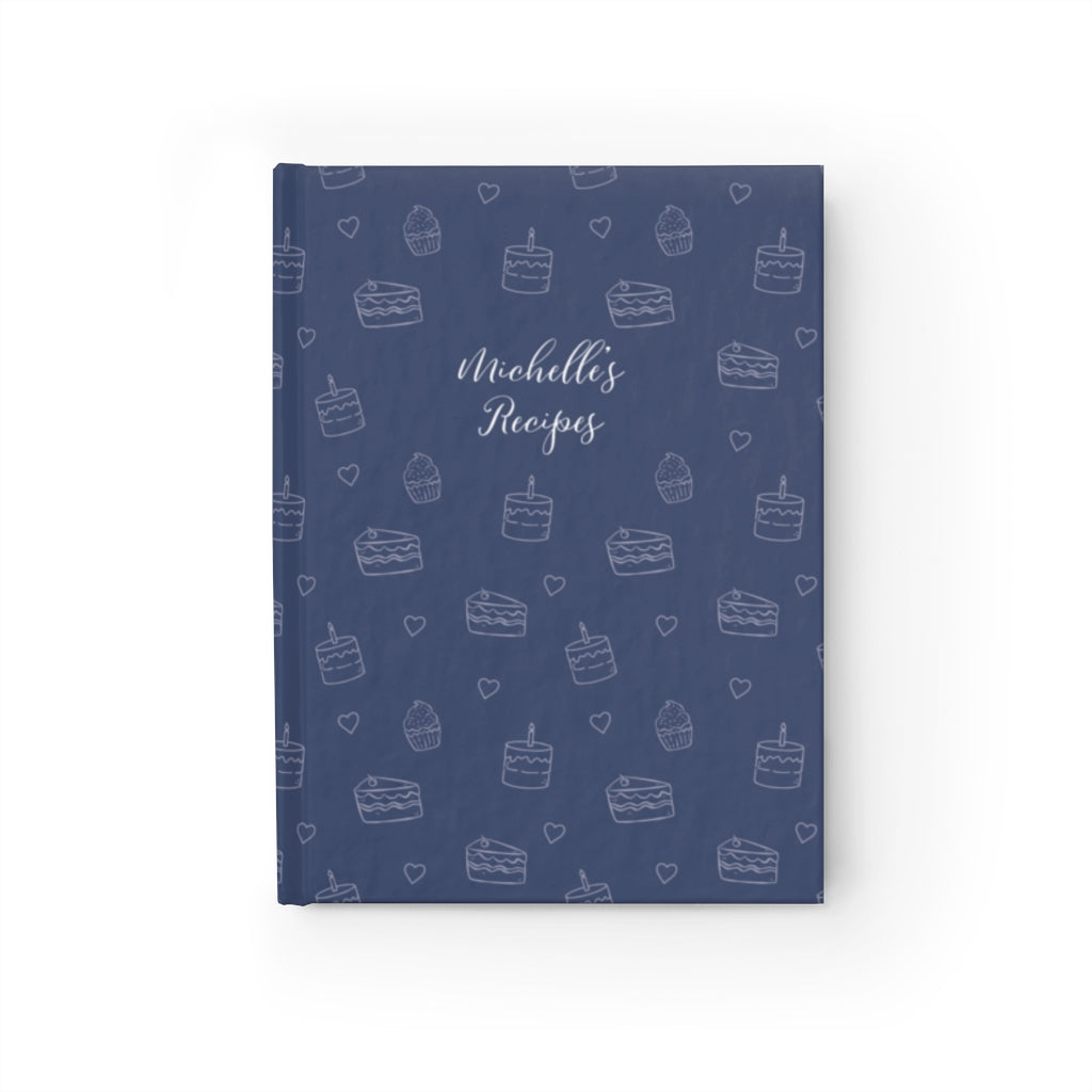 Navy Cake Print Personalized Recipe Journal - Ruled Line