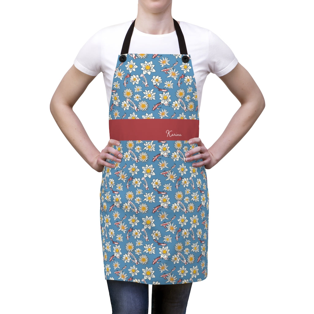 Koi Fish and Flower Apron with Personalized Name-Accessories-Cheery Toppers