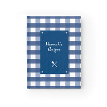 Load image into Gallery viewer, Blue Gingahm Pattern Personalized Journal - Ruled Line