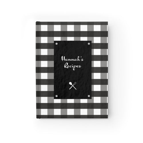 Black Gingahm Pattern Personalized Journal - Ruled Line-Paper products-Cheery Toppers