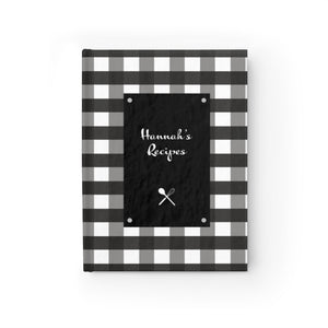 Black Gingahm Pattern Personalized Journal - Ruled Line