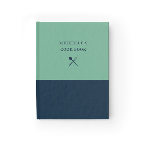 Green and Navy Personalized Cooking Journal - Ruled Line-Paper products-Cheery Toppers