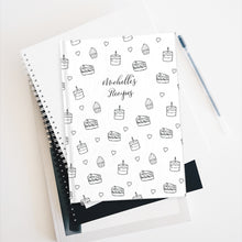 Load image into Gallery viewer, Black and White Cake Print Personalized Journal - Ruled Line-Paper products-Cheery Toppers