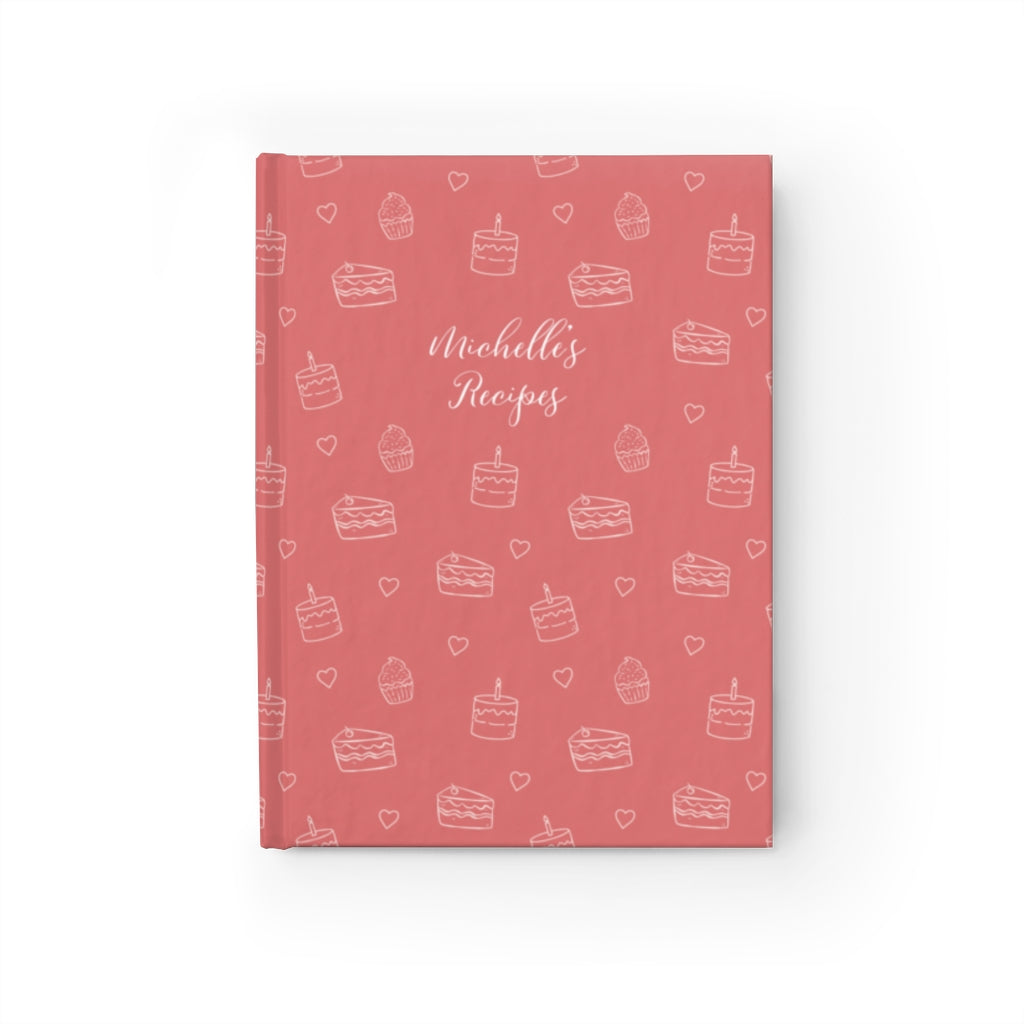 Dusty Pink Cake Print Personalized Journal - Ruled Line
