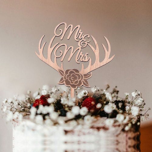 """Wood Reindeer Antlers Flowers Mr. & Mrs."" Rustic Wedding Cake Topper-Mr. & Mrs., Reindeer, Rustic Wedding-Cheery Toppers"