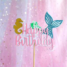 "Load image into Gallery viewer, Mermaid Princess Cake Topper Set (Seahorses)-mermaid-""Happy Birthday"" (Pink)-Cheery Toppers"