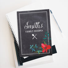 Load image into Gallery viewer, Chalkboard Personalized Family Recipe Journal - Ruled Line