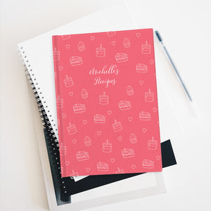 Pink Cake Print Personalized Recipe Journal - Ruled Line