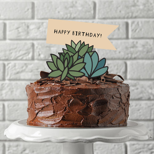 Desert Succulents Birthday Cake & Cupcake Toppers + DIY Pop Up Card Kit - DIGITAL FILE