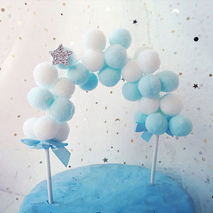 Elephant with Heart Balloon Cake Toppers-blue baby shower, elephant boy-Blue Pom Pom Banner-Cheery Toppers