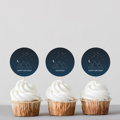 Zodiac Signs Cupcake Toppers + Card Set - DIGITAL PRODUCT