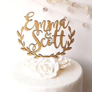 Personalized Rustic Half Wreath Wedding Cake Topper-Custom Wedding, Rustic Wedding-Bronze-Cheery Toppers