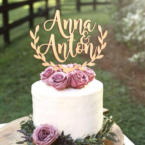 Personalized Rustic Half Wreath Wedding Cake Topper-Custom Wedding, Rustic Wedding-Wood-Cheery Toppers