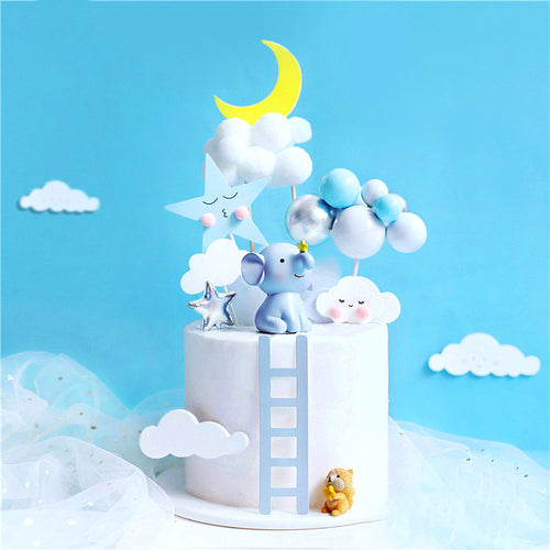 Dreamy Elephant and Squirrel Cake Toppers-1st birthday, blue baby shower, elephant boy-Elephant and Squirrel-Cheery Toppers