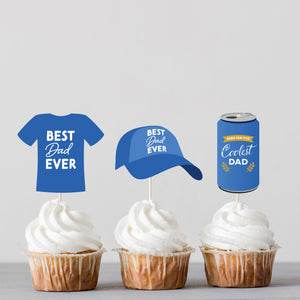 """Best Dad Ever"" Father's Day Dad's Essentials Cake & Cupcake Toppers + DIY Pop Up Card Kit - DIGITAL FILE"