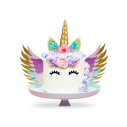 Create Your Unicorn Cake Design Kit with Wings-Unicorn, Unicorn Baby Shower-Gold Horn with Turquoise Flowers-Cheery Toppers