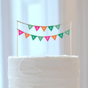 """Happy Birthday"" DIY Colorful Banner Cake Topper - DIGITAL FILE"