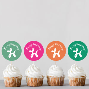 Colorful Balloon Animal Dog Birthday Cupcake Toppers - DIGITAL FILE