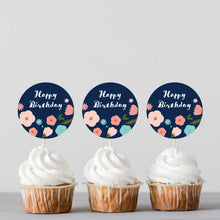 Load image into Gallery viewer, Floral Birthday Cupcake Toppers - DIGITAL FILE