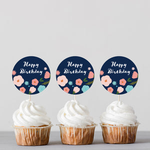 Floral Birthday Cupcake Toppers - DIGITAL FILE