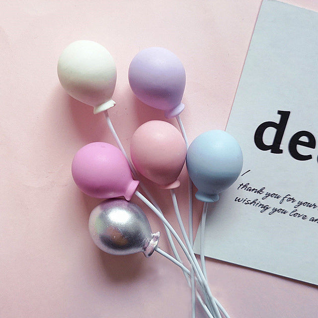 Pastel and Silver Balloons Cake Topper-balloon, Balloons, pink baby shower-Cheery Toppers