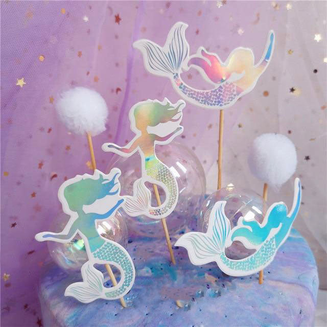 Iridescent Rainbow Mermaid Cake Toppers (Set of 4)-mermaid, Sweet Sixteen-Cheery Toppers