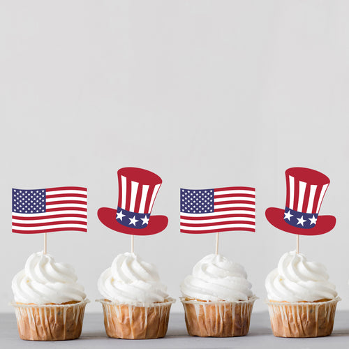 American Flag and Uncle Sam Hat, July 4th Cupcake Toppers - DIGITAL FILE